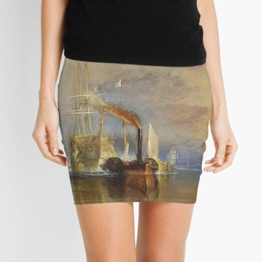 TURNER. The Fighting Temeraire, 1839, by Joseph Mallord William Turner. On White. Mini Skirt
