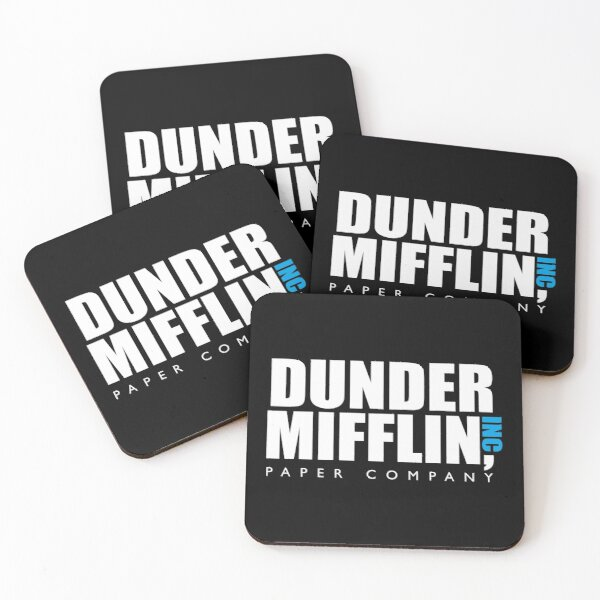 The Dunder Office Mifflin in BW Coasters (Set of 4)