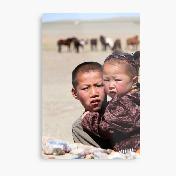 Mongolian kids Metal Print