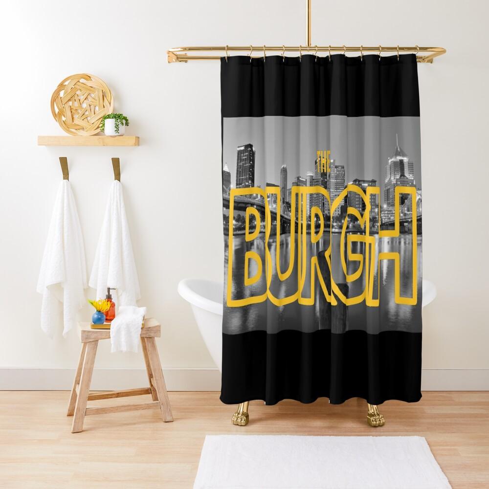 Pittsburgh Skyline Type BW Shower Curtain