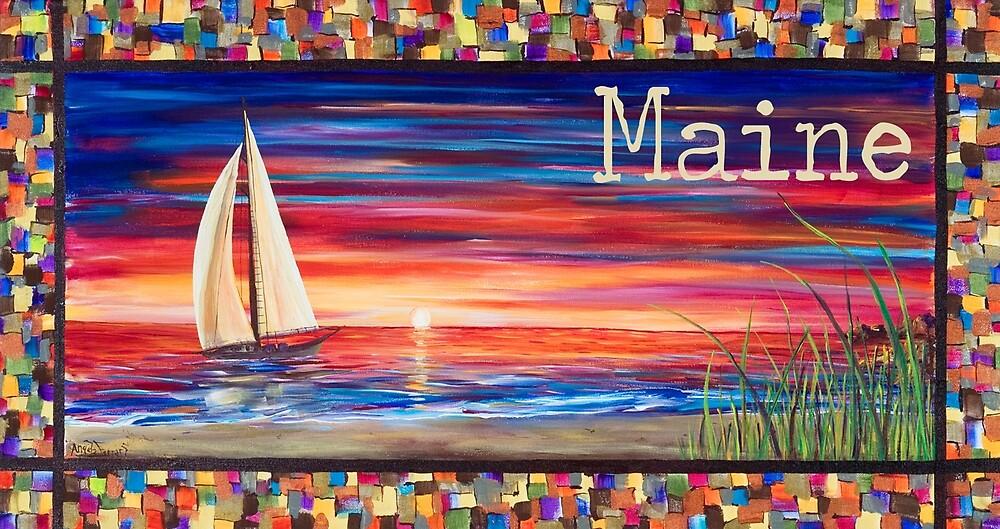 Sailboat Sunset Maine by Angela Ferrari by ByFerrari