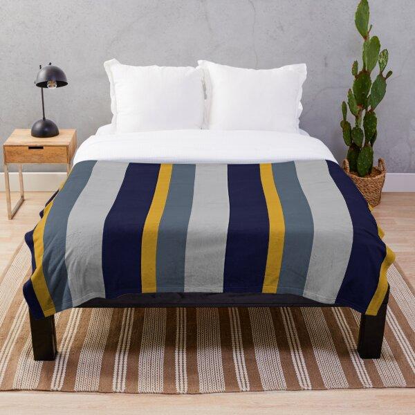 Navy Blue and Mustard Yellow Vertical Stripe Throw Blanket