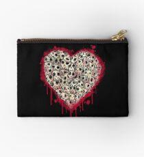Skull Heart Zipper Pouch