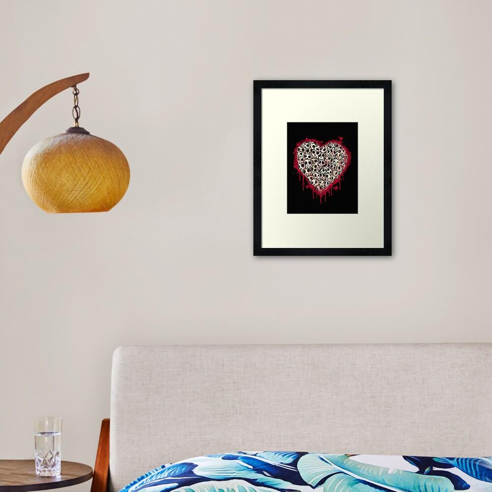 Skull Heart Framed Art Print