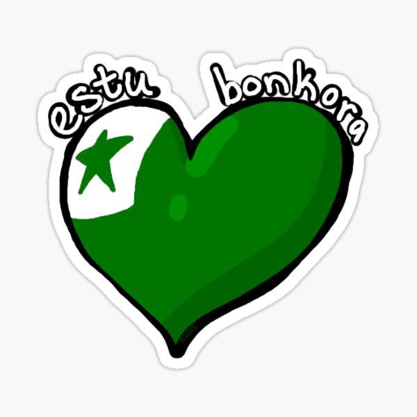 Estu Bonkora - Esperanto flag heart Sticker