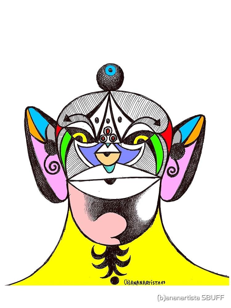 Owl Ganesha Shaman Mantra Man (psychedelic drawing) by bananartista
