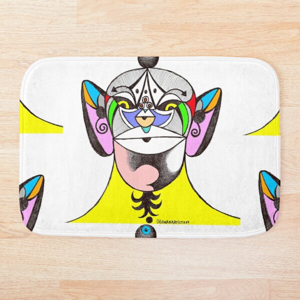 Owl Ganesha Shaman Mantra Man (psychedelic drawing) Bath Mat