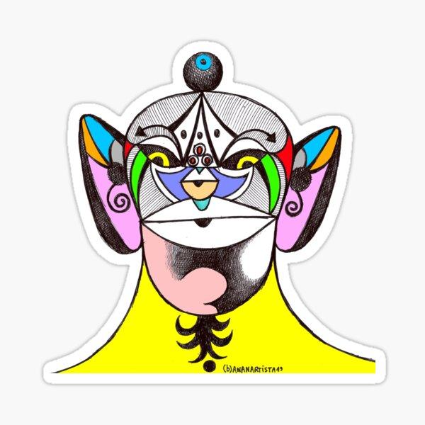 Owl Ganesha Shaman Mantra Man (psychedelic drawing) Sticker