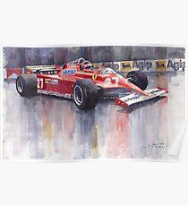 Ferrari 126C 1981 Monte Carlo GP Gilles Villeneuve Poster