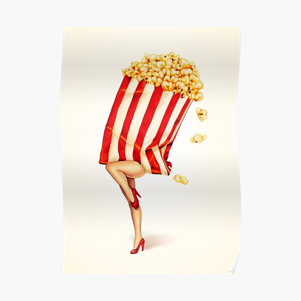 Let's All Go to the Lobby - Popcorn Girl Poster