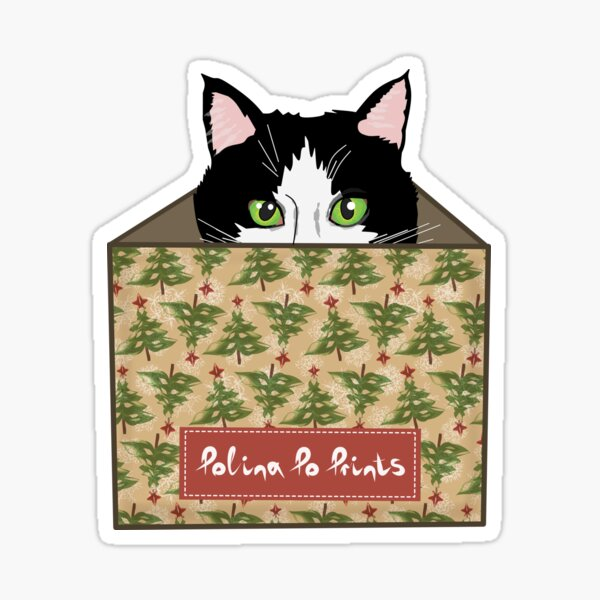 Christmas gift with cat in a box. Funny cat. Christmas print. Sticker