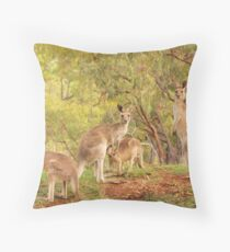 Eastern Grey Kangaroos Throw Pillow