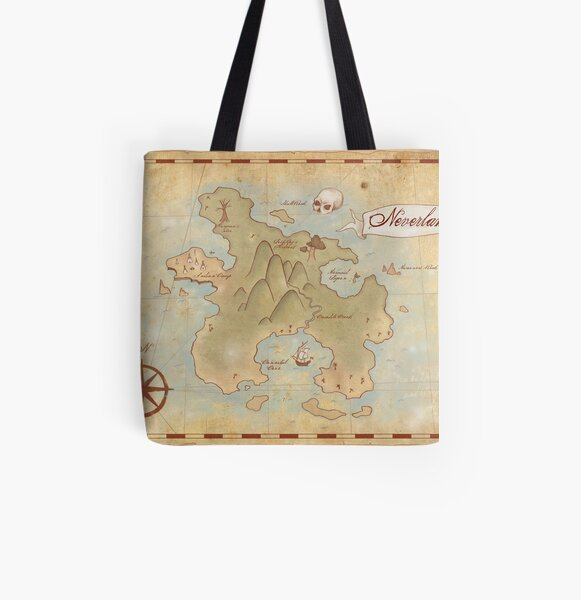 Map of Neverland All Over Print Tote Bag