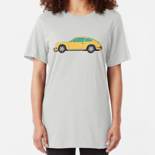 Yellow Porsche 911 R (1967) ─ Fan Art Slim Fit T-Shirt