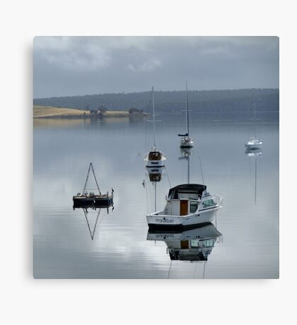 Reflection of boats Canvas Print