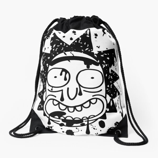Dripping Happy Rick Sanchez Black Drawstring Bag