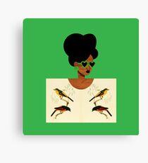 Green Glasses Postcard Girl Canvas Print