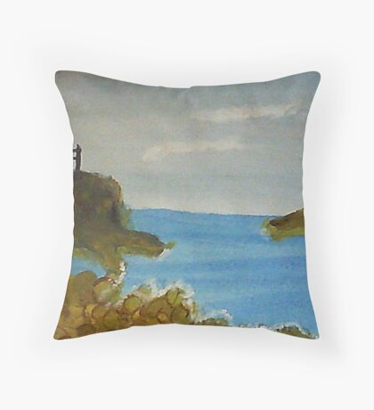 Lighthouse Over Looking the Cove, watercolor Throw Pillow