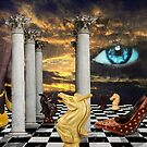 The game of chess with a red shoe in a surreal dream by Fiery-Fire