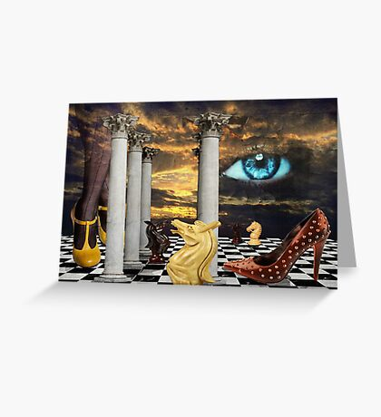 The game of chess with a red shoe in a surreal dream Greeting Card