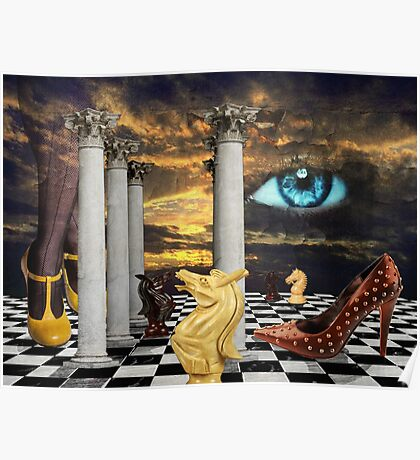 The game of chess with a red shoe in a surreal dream Poster