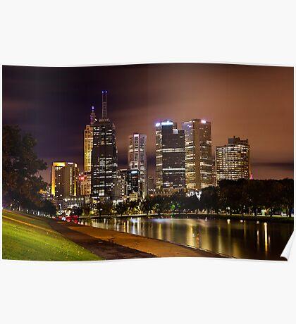 Autumn Night on Swan Street Bridge Poster