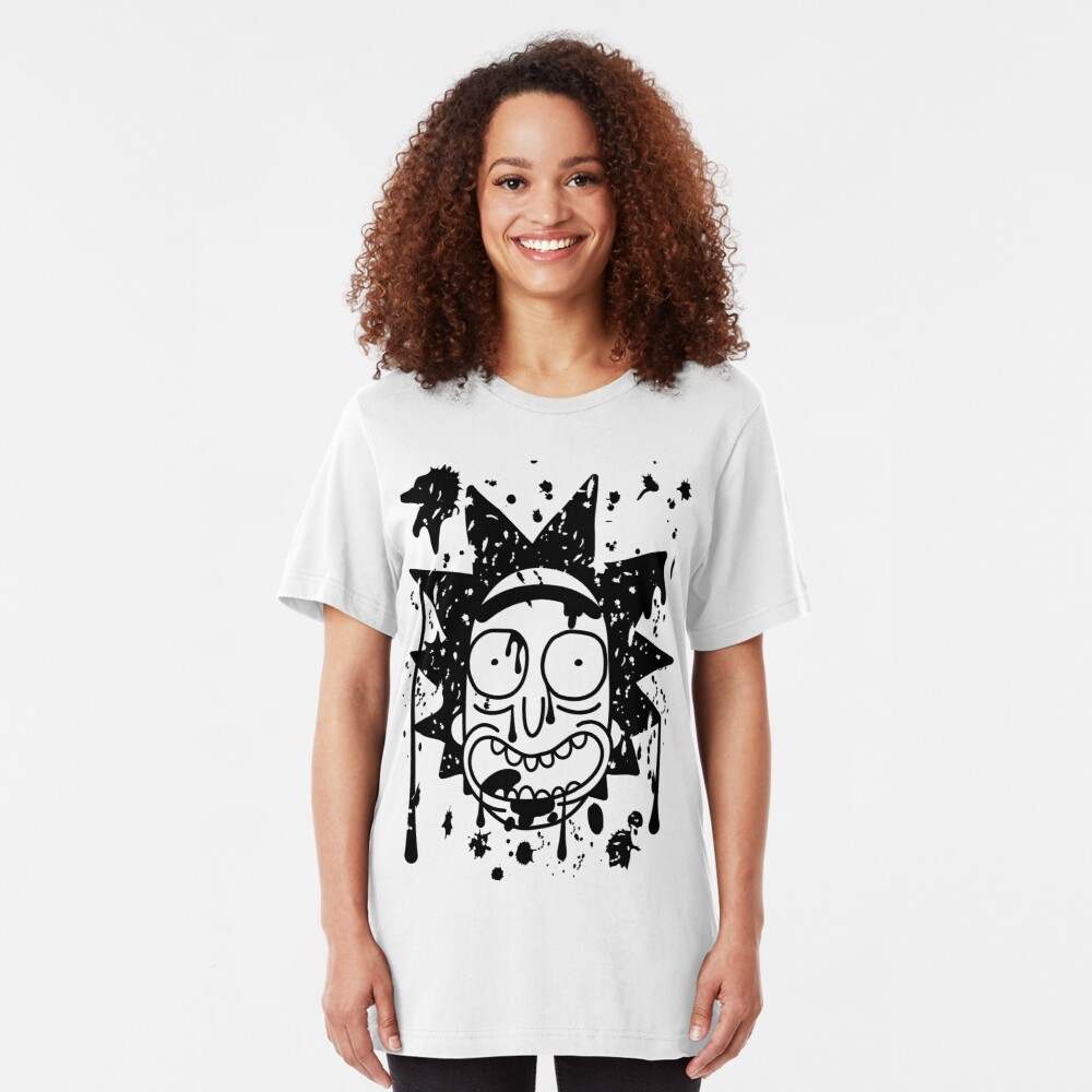 Dripping Happy Rick Sanchez Black Slim Fit T-Shirt