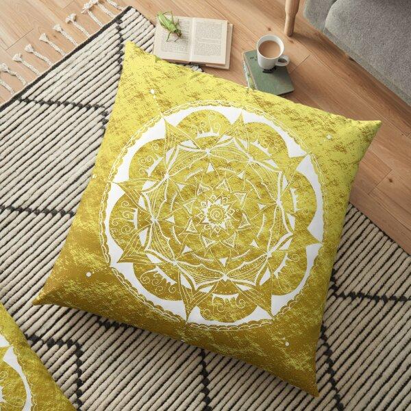 beautiful mandala in white on gold Floor Pillow