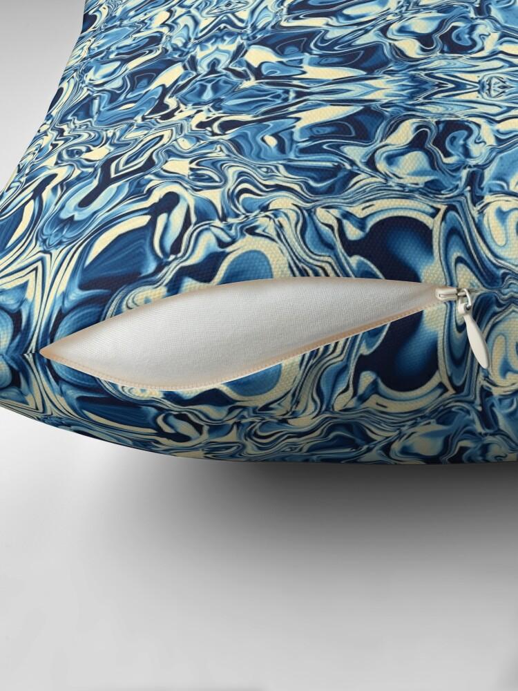 Alternate view of Liquefied Flow II - Blue Cream Throw Pillow