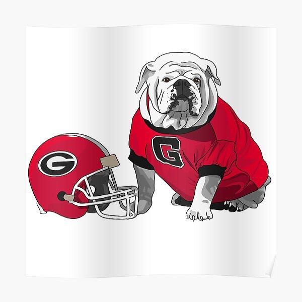 UGA Bulldog with Helmet Poster
