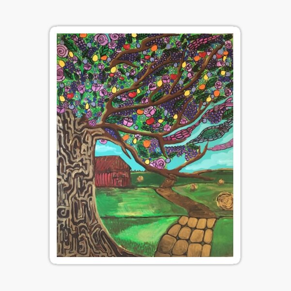 By the farm Country Painting Sticker