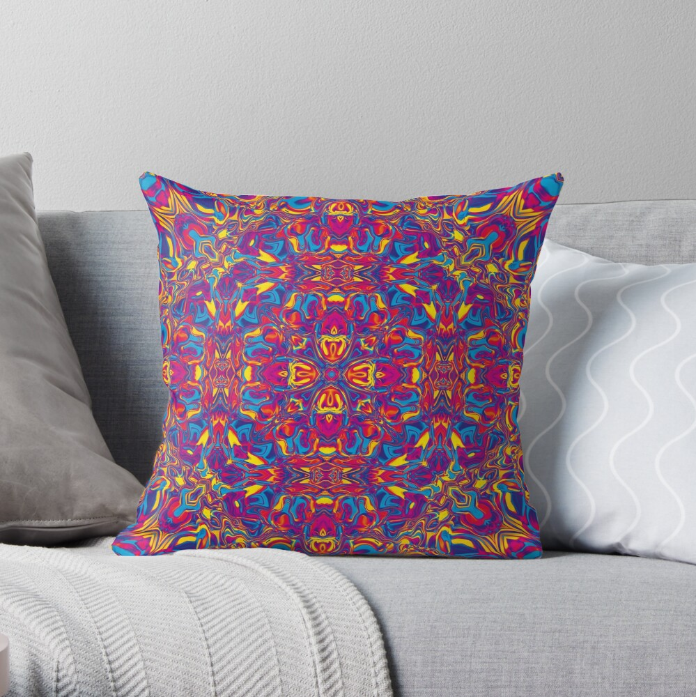 Liquefied Flow II - CMY Throw Pillow
