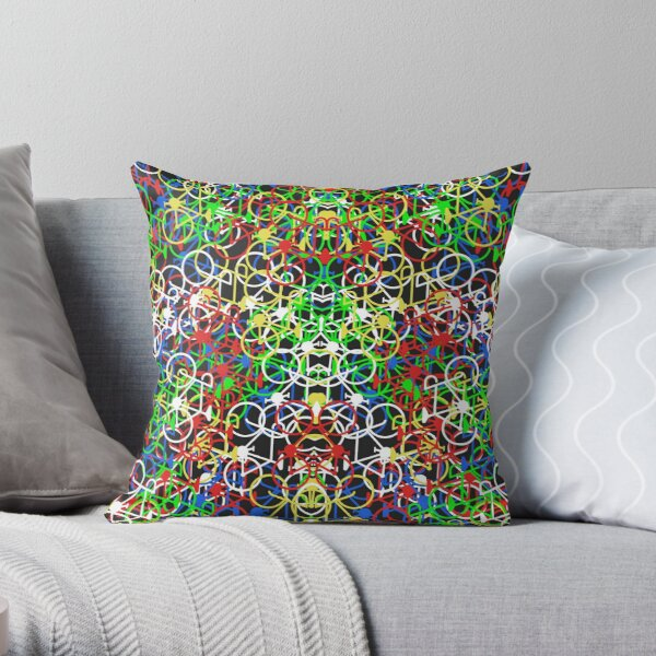 Lotsa Bikes - Multi Colour Throw Pillow