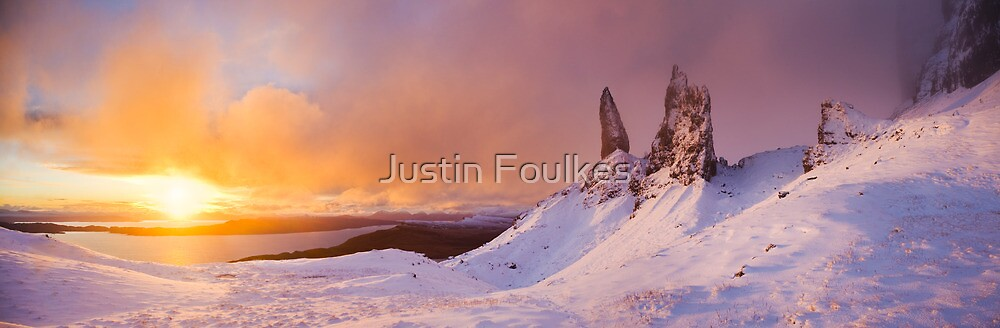 Winter sunrise, the Old Man of Storr, Skye. by Justin Foulkes