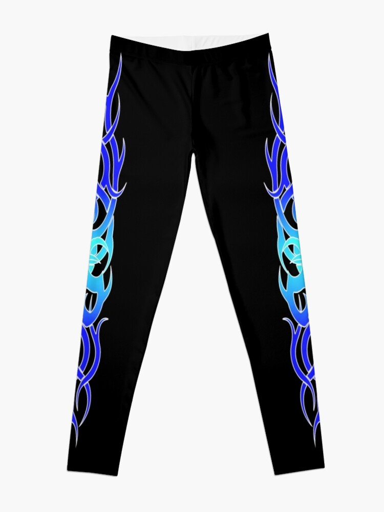Alternate view of Tattoo Blue Flame Design Leggings Leggings