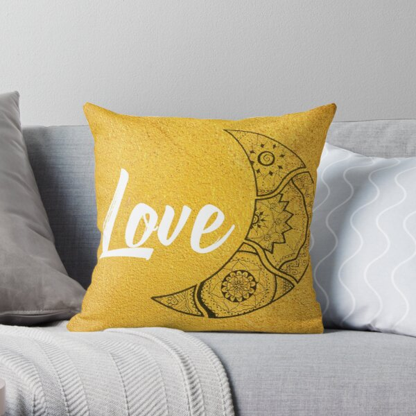 Halbmond Mandala Love in gold Dekokissen