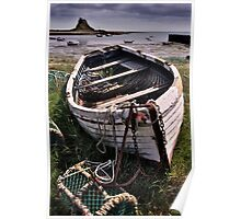 Old boat and lobster pots - Lindisfarne Poster