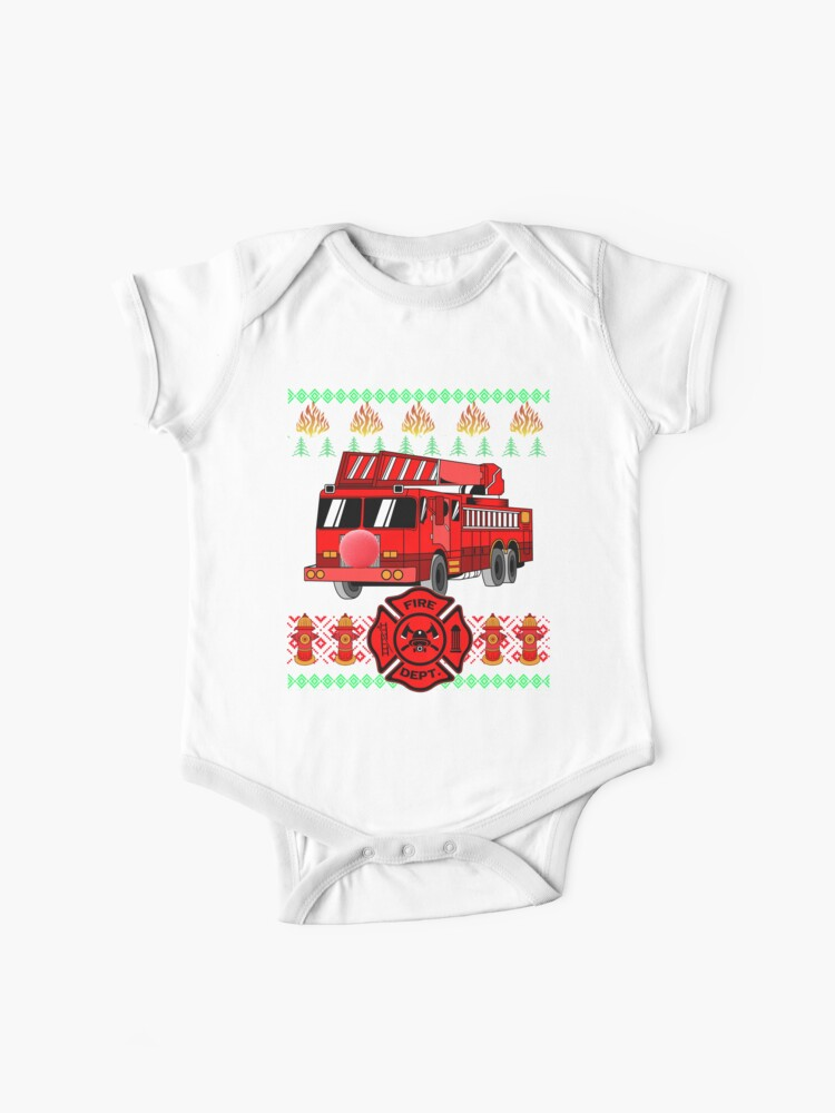Thin Red Line Heart Firefighter Baby Boy Long Sleeve Bodysuit Kid Pajamas