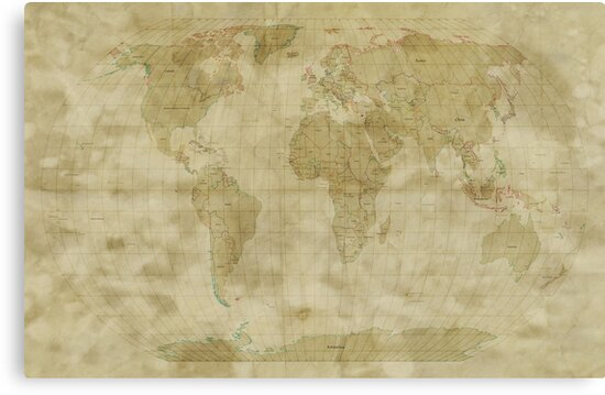 World Map Antique Style by Michael Tompsett
