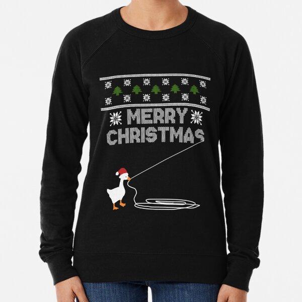 Christmas Goose Montage Lightweight Sweatshirt