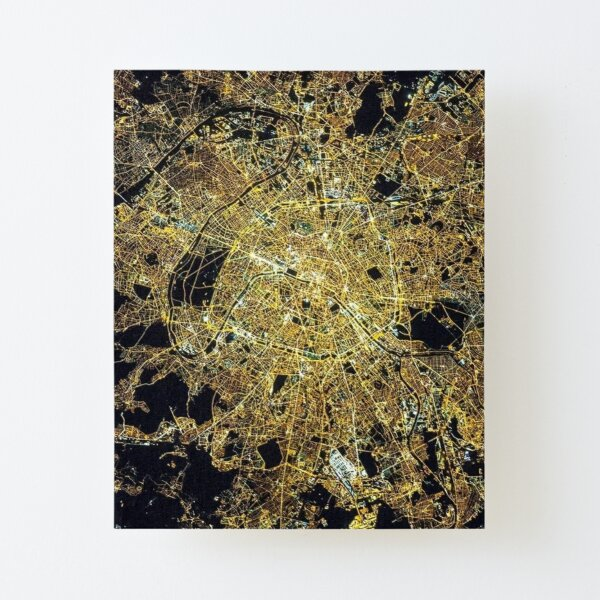 Cities from space, Paris, Париж Canvas Mounted Print