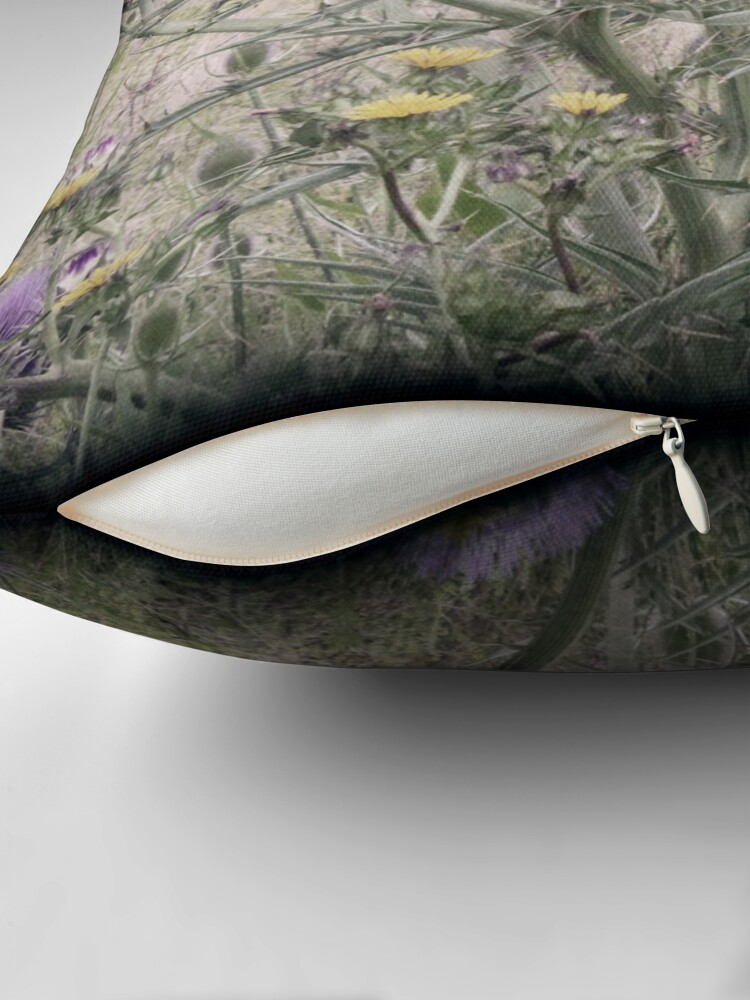 Alternate view of In a Thistle Field Throw Pillow