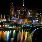 Night lights, Yarra River, Melbourne, Victoria, Australia. by johnrf