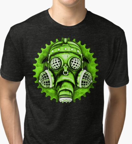 Steampunk / Cyberpunk Gas Mask #1E Steampunk T-Shirts Tri-blend T-Shirt