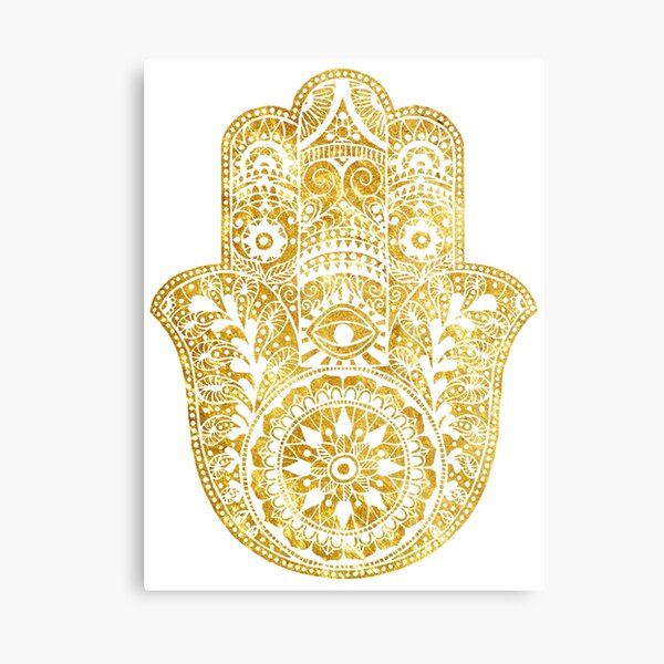 White Gold Hamsa Hand Canvas Print