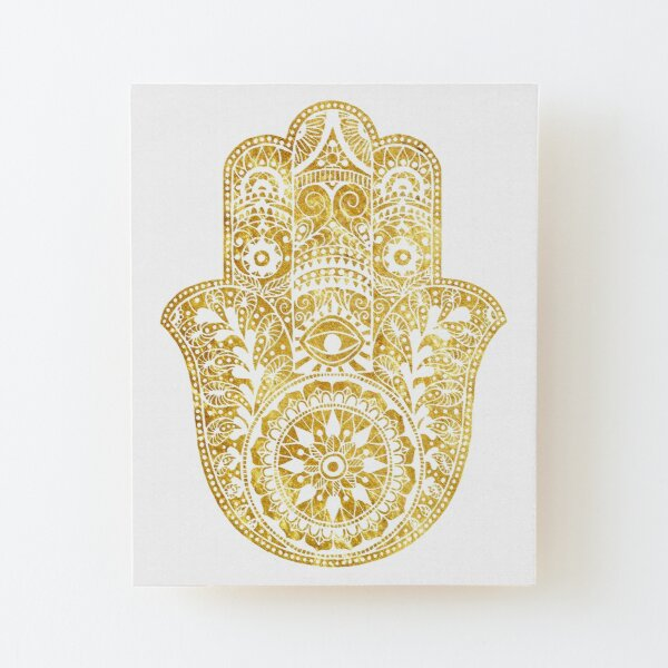 White Gold Hamsa Hand Wood Mounted Print