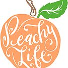 Peachy Life Unique Peach Hand Drawn Hand Lettered Design by DoubleBrush
