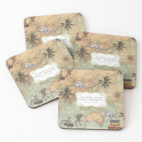 2020 YEAR TEXT (VINTAGE MAP) Coasters (Set of 4)