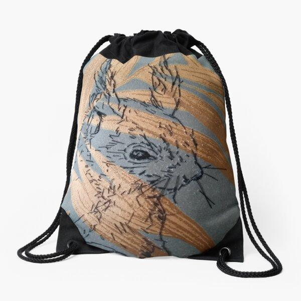 Red Squirrel Artwork Drawstring Bag