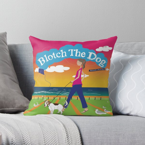 Blotch the Dog at Bpndi Brach Throw Pillow